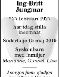 Dödsannons Ing-Britt Jungmar